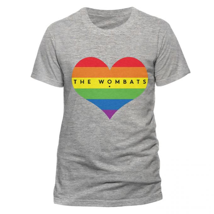 The Wombats (Rainbow Heart) Grey T-Shirt