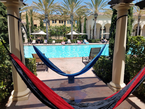 Two hammocks by the pool