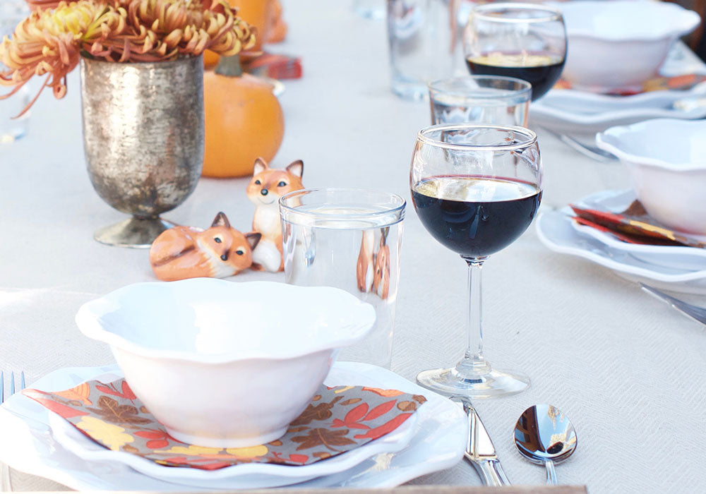 Friendsgiving Dinner Party Ideas | Q Squared Ruffle Melamine