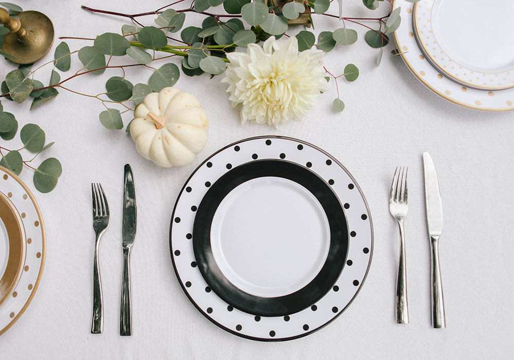 Friendsgiving Table Setting | Black Polka Dot Plates