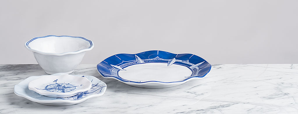 Made of 100% melamine these BPA free dinner plates and bowls are shatterproof durable and look just like ceramic and porcelain.  sc 1 st  Q Squared & Nautical Dinnerware Sets - Nautical Dishes u2013 Q Squared