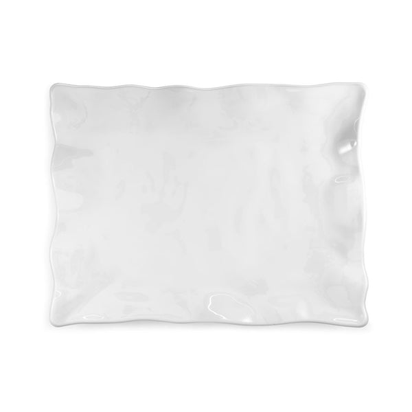 Ruffle White Melamine Rectangle Small Platter