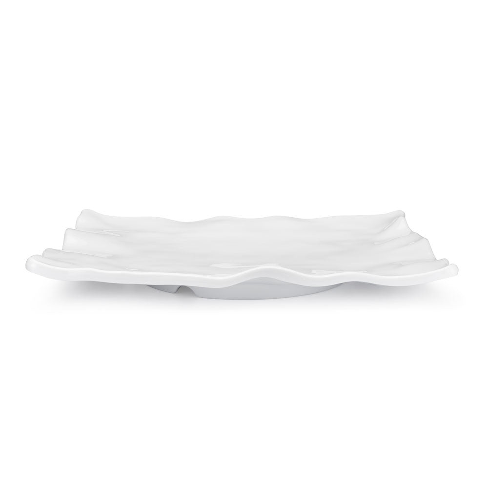 Ruffle White Melamine Rectangle Large Platter