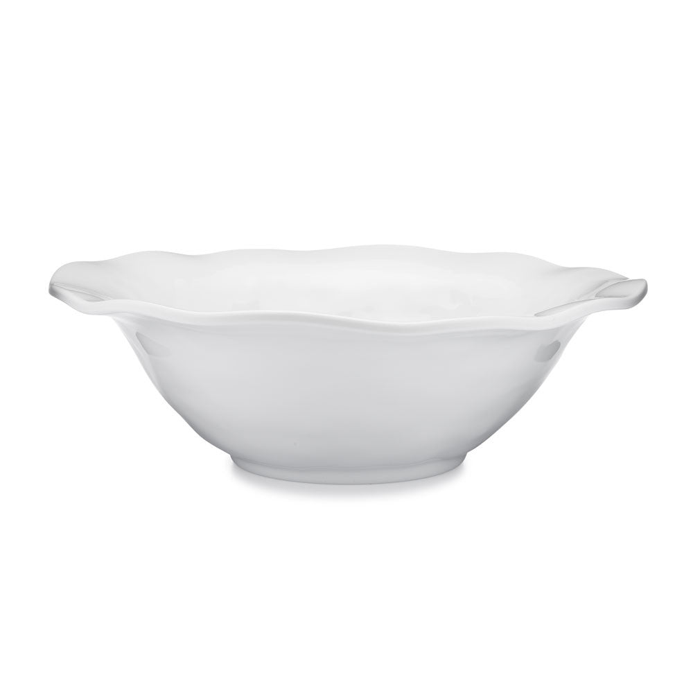 Ruffle White Melamine Round Serving Bowl