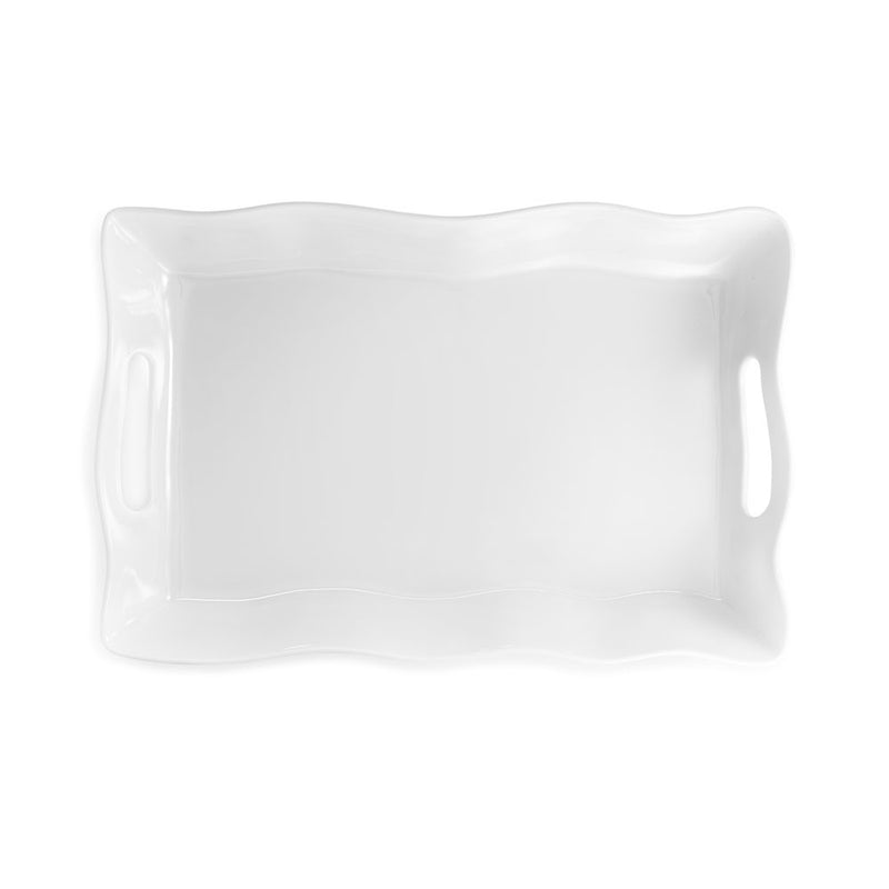 Ruffle White Melamine Small Rectangle Tray