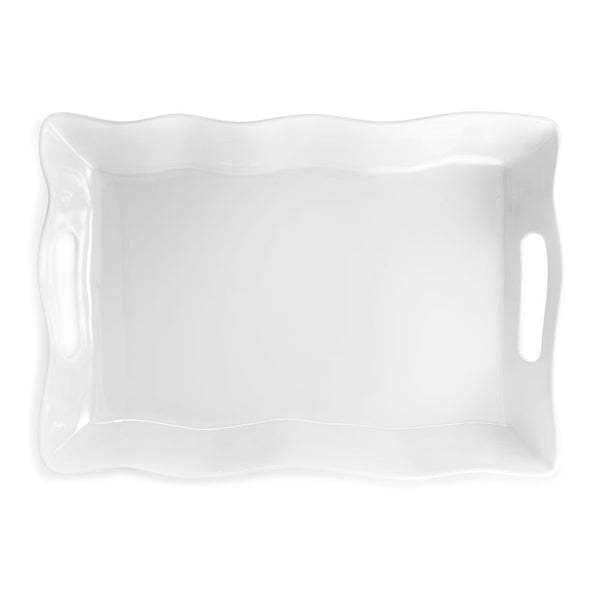 Ruffle White Melamine Large Rectangle Tray
