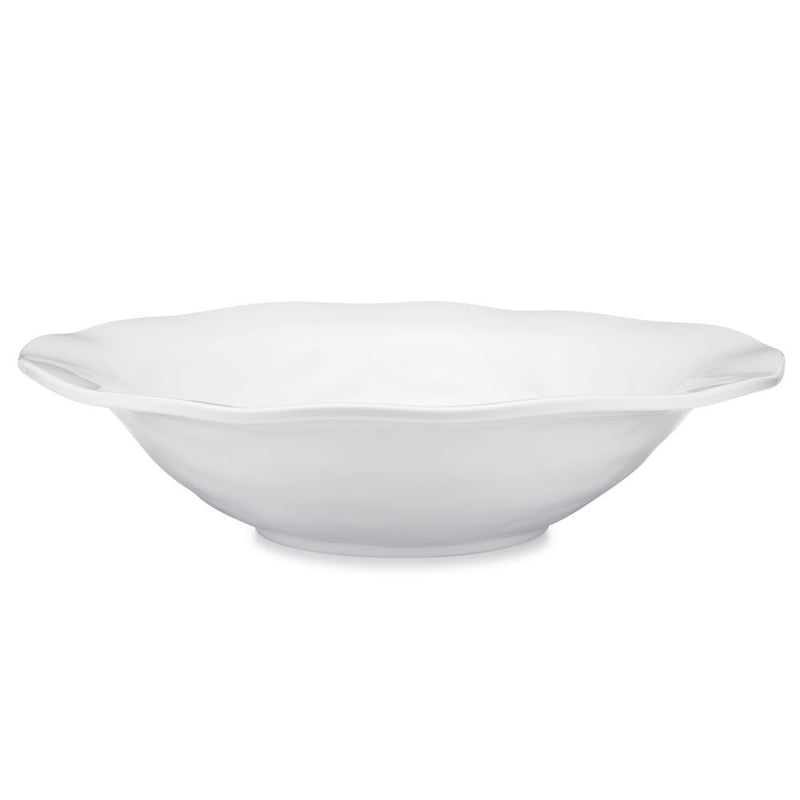 Ruffle White Melamine Round Shallow Serving Bowl