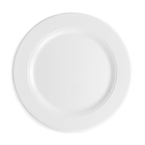 Diamond Round White Melamine Dinner Plate