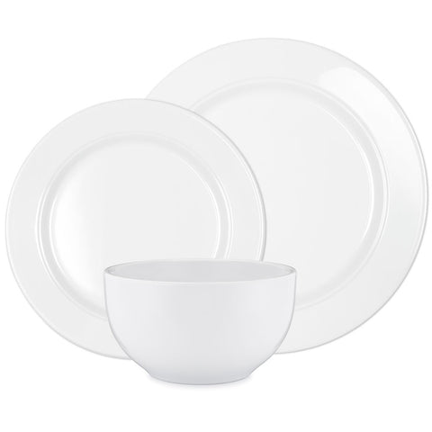 Diamond White Melamine Round 12pc Dinnerware Set