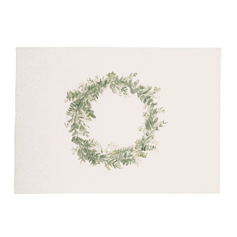 Floral Wreath Watercolor Placemats, Set of 2