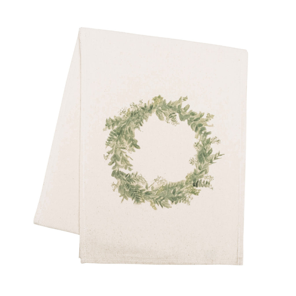 Floral Wreath Watercolor Table Runner