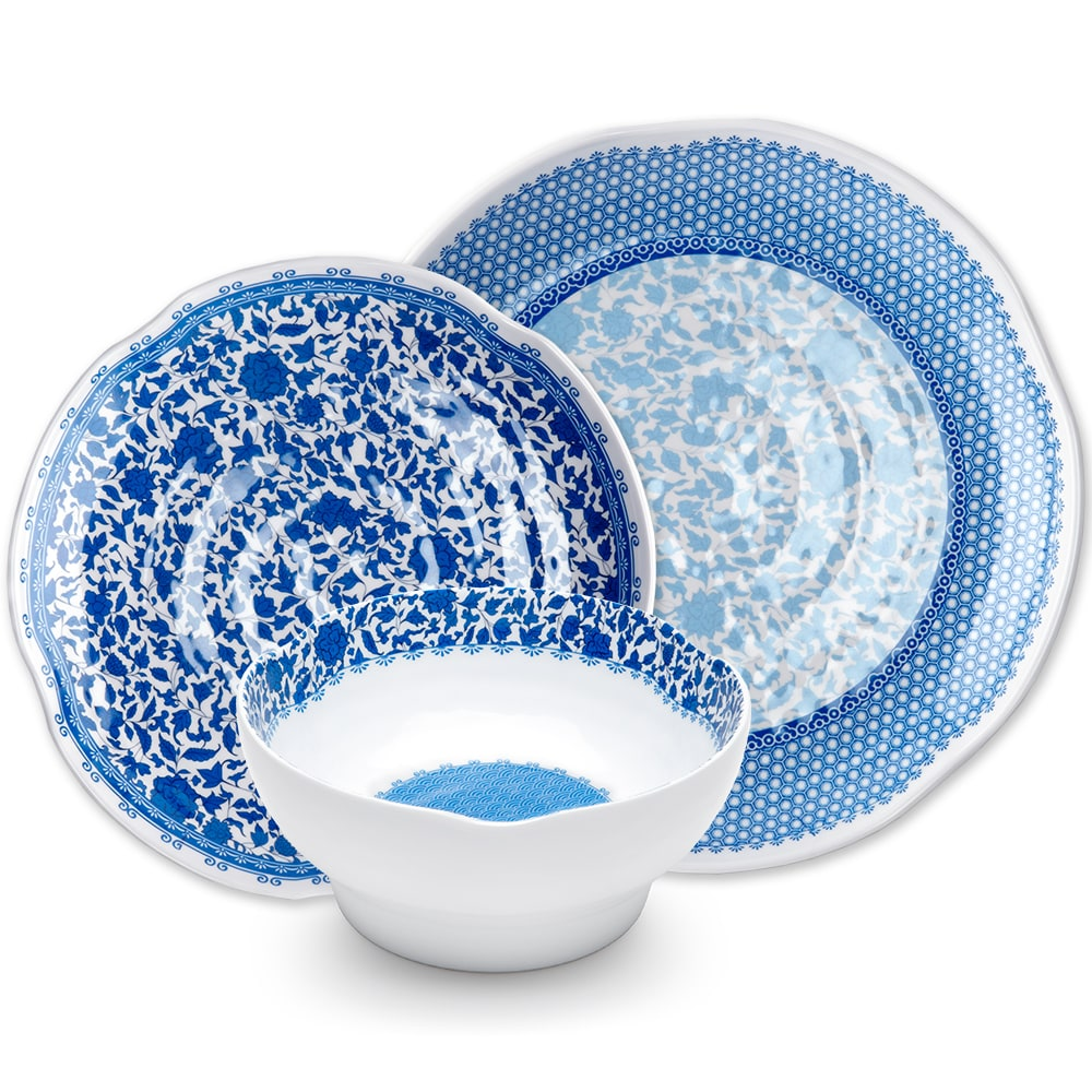 Heritage Blue Melamine 12pc Dinnerware Set