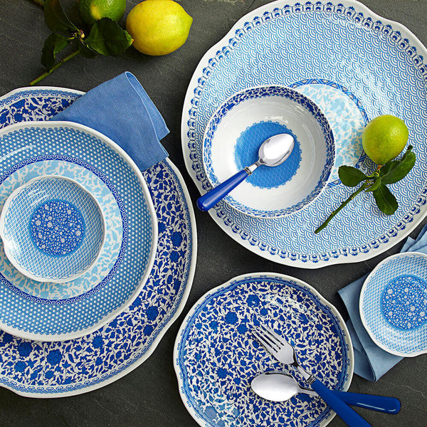 Heritage Blue Melamine 12pc Dinnerware Set Q Squared