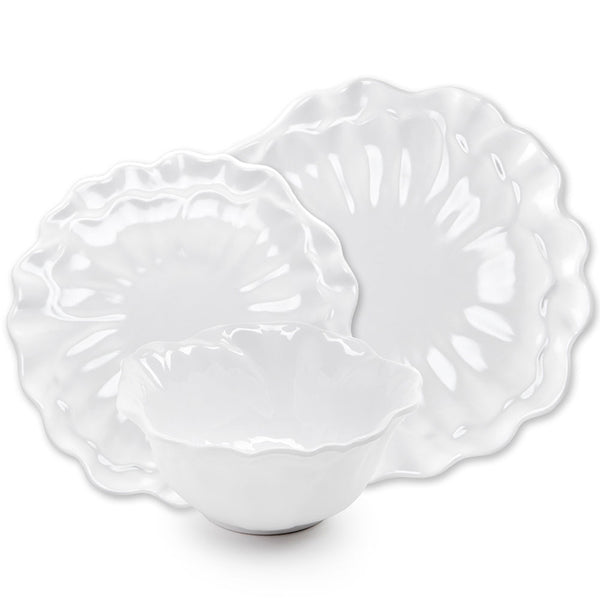 Peony White Melamine 12pc Dinnerware Set