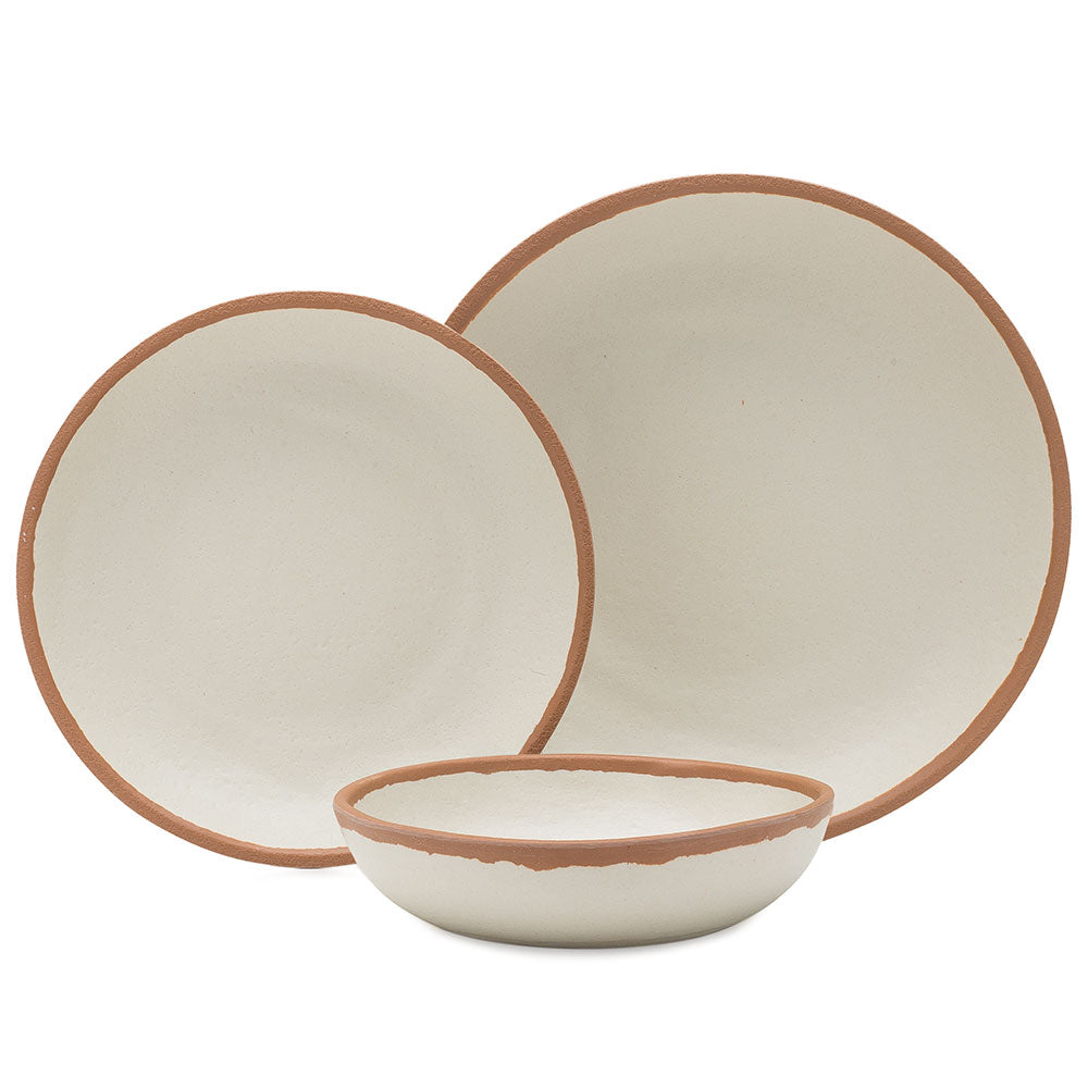 Potter Terracotta Brown Gray 12pc Melaboo™ Dinnerware Set