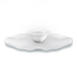Ruffle White Melamine Round 2pc Platter Serving Set