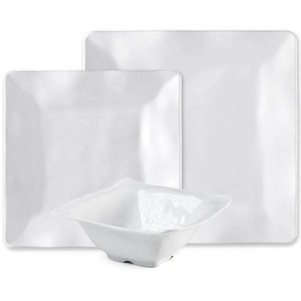 Ruffle White Melamine Square 12pc Dinnerware Set