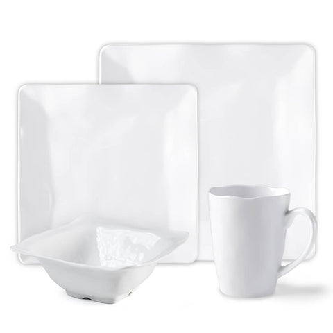 Ruffle Square 16pc Melamine Dinnerware Set