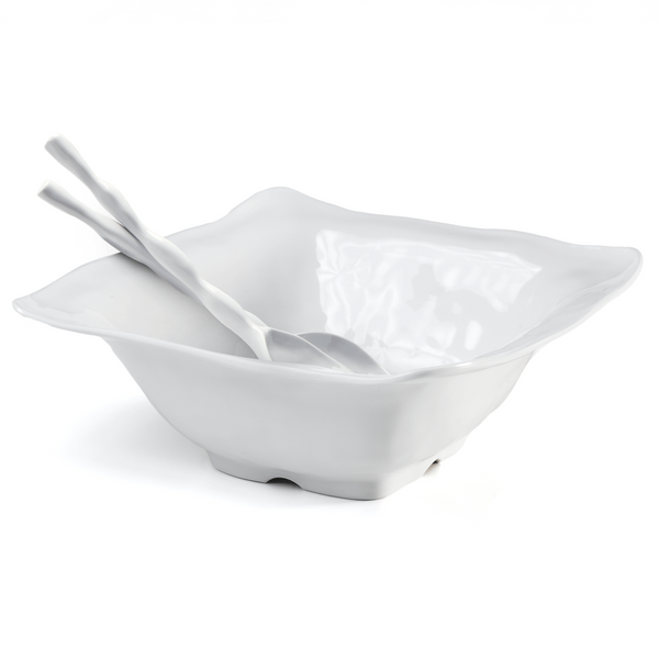 Ruffle White Melamine Square 2pc Salad Serving Set