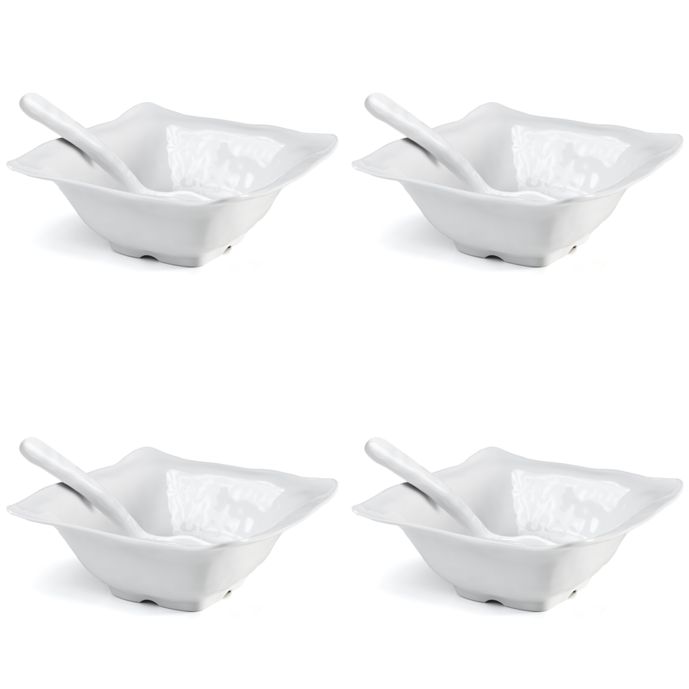 Ruffle White Melamine Square 8pc Tasting Set