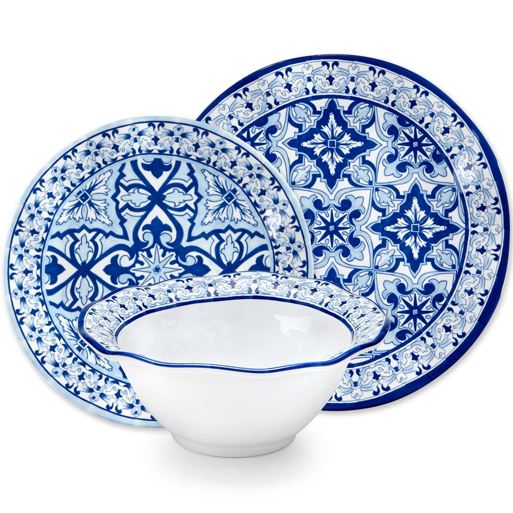 Talavera in Azul Blue Melamine 12pc Dinnerware Set