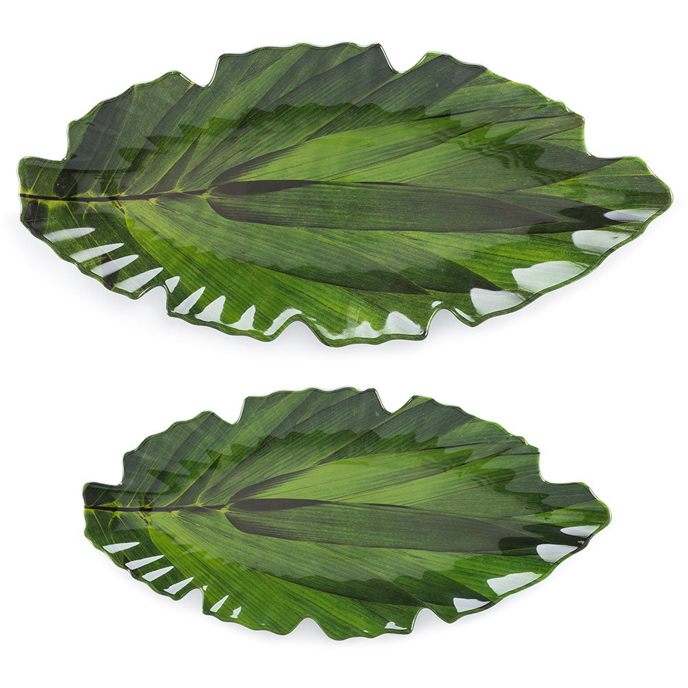 Zen Leaf Green Melamine 2pc Platter Set