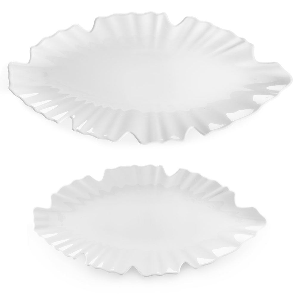 Zen Leaf White Melamine 2pc Platter Set