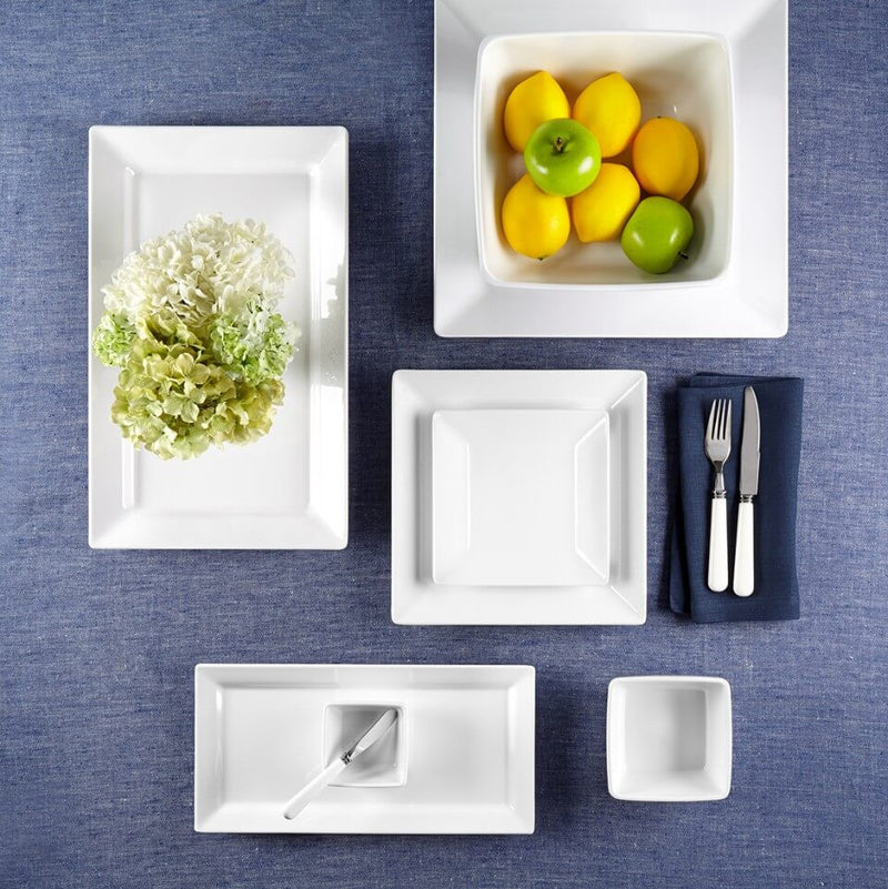 Diamond White Melamine Square 12pc Dinnerware Set