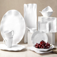 Ruffle White Melamine Square 16pc Dinnerware Set