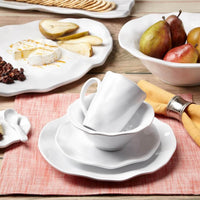 Ruffle White Melamine Round 12pc Dinnerware Set