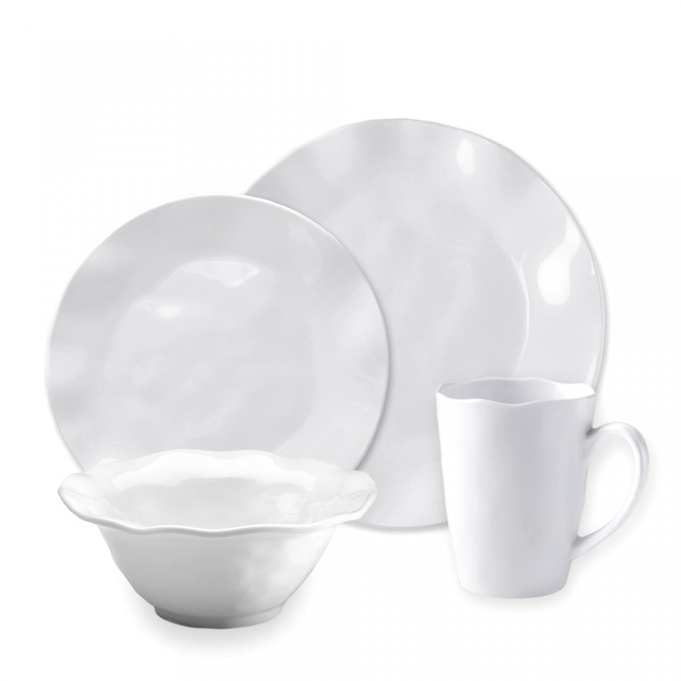 Ruffle White Melamine Round 16pc Dinnerware Set