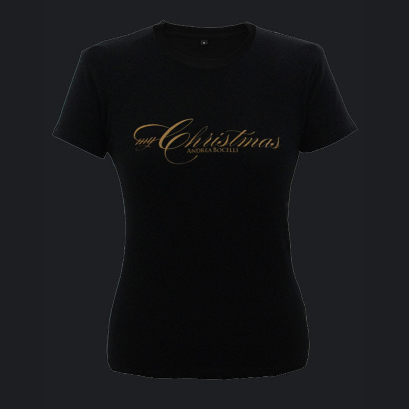 Andrea Bocelli (My Christmas) Black Ladies T-Shirt