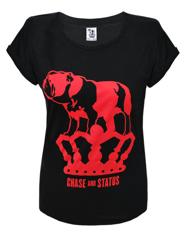 Chase and Status (Bulldog Logo) Black Rolled Sleeve T-Shirt