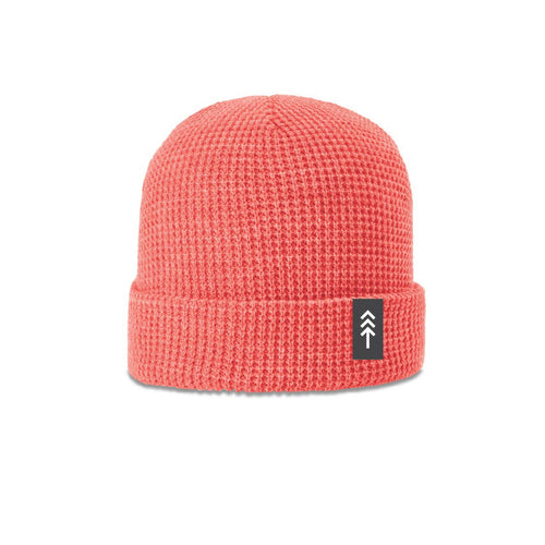 Coral Pink Waffle Beanie