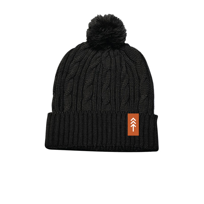 Black Cable Knit Pom Beanie