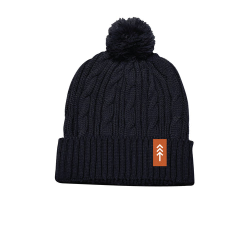 Navy Cable Knit Pom Beanie