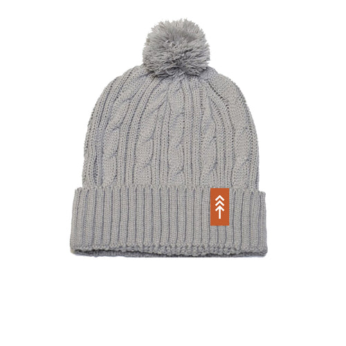 Light Grey Cable Knit Pom Beanie
