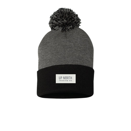 Charcoal/Black Pom Nametag Beanie