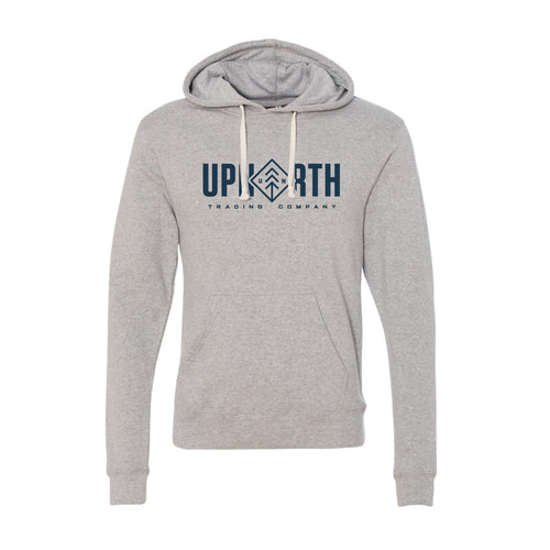 Men's Heathered Grey/Navy Diamond Text Hoodie