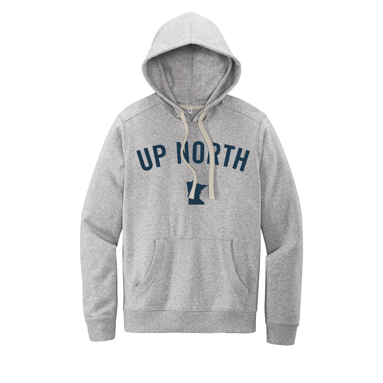 Unisex Light Grey Up North MN Felt Hoodie