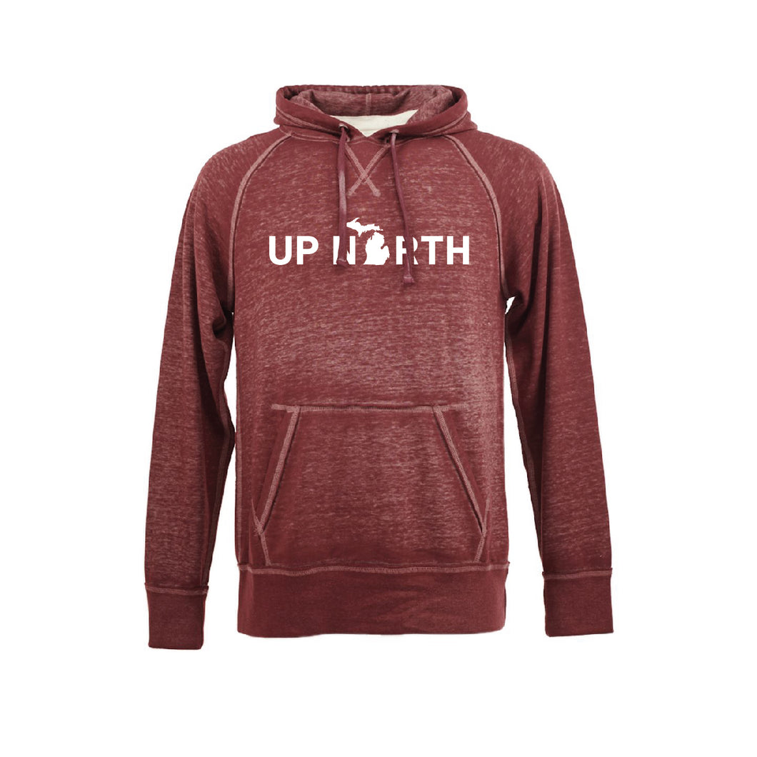 Men's Maroon Up North MI Raglan Hoodie