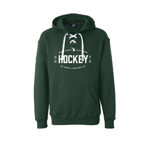 Men's Dark Green MI Hockey Hoodie