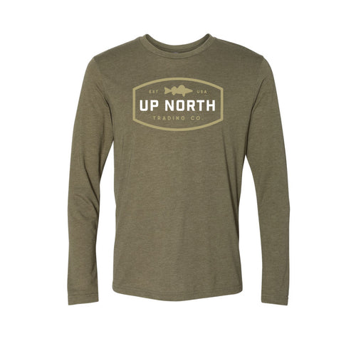 Men's Military Green Walleye Long Sleeve Tee