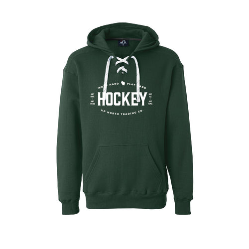 Men's Dark Green WI Hockey Hoodie