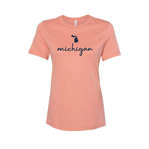 Women's Orange MI Slip Script Tee