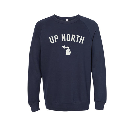 Unisex Navy Up North MI Felt Crew