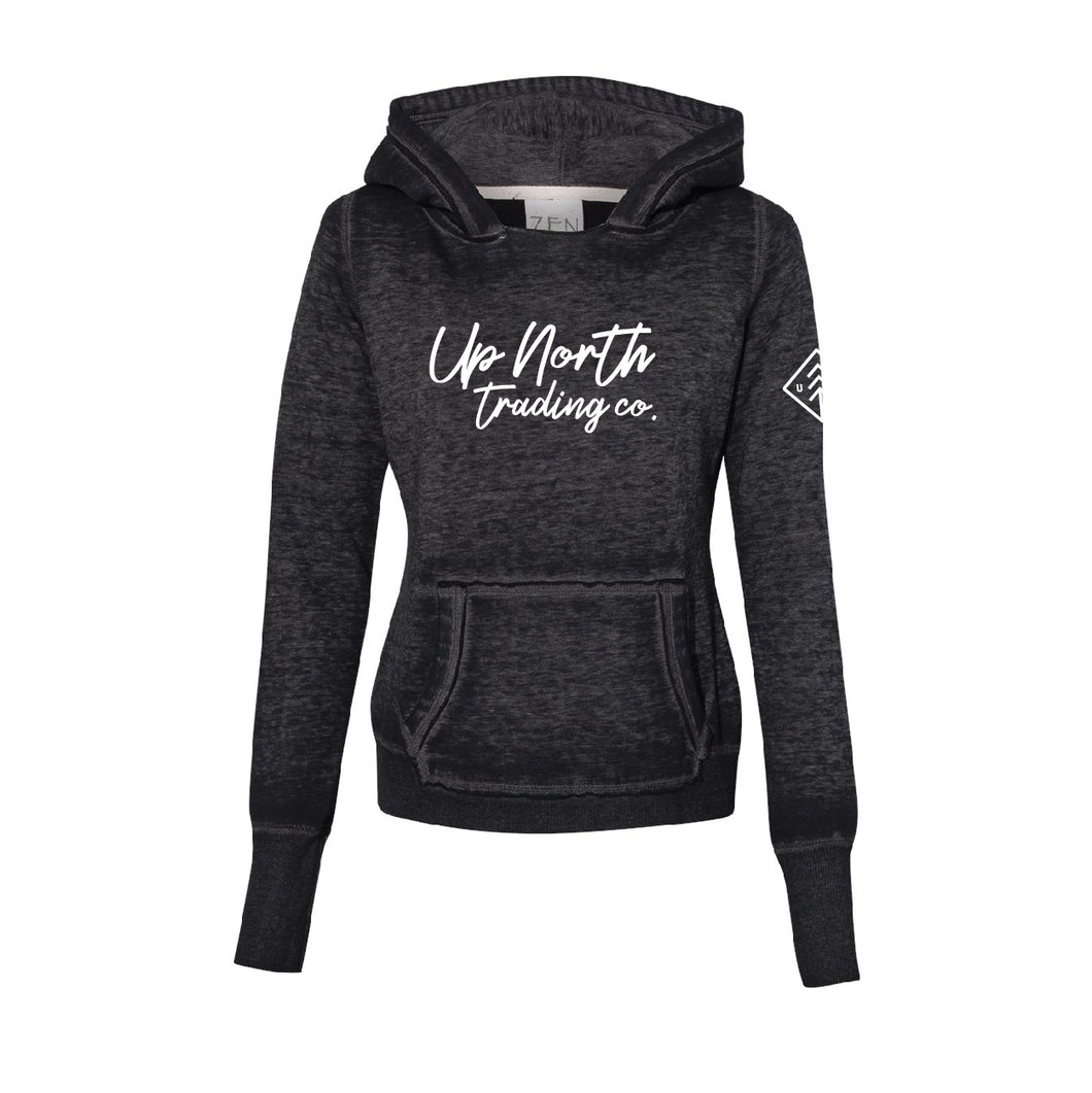 Women's Black Up North Loose Script Hoodie