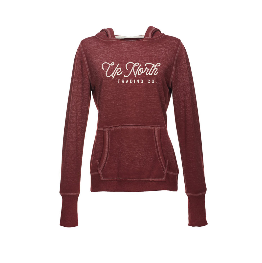 Women's Maroon Up North Script Hoodie