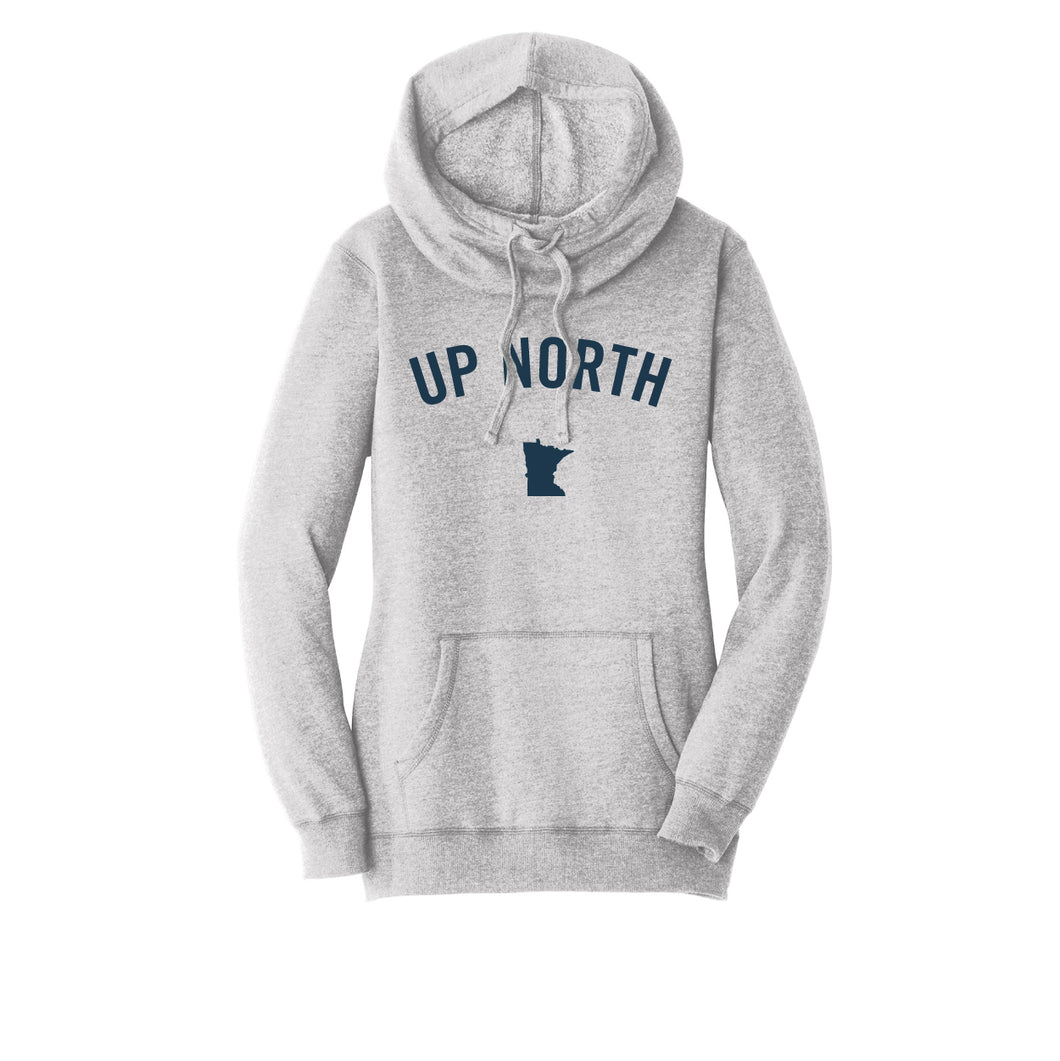 Women's Light Grey Up North MN Felt Hoodie