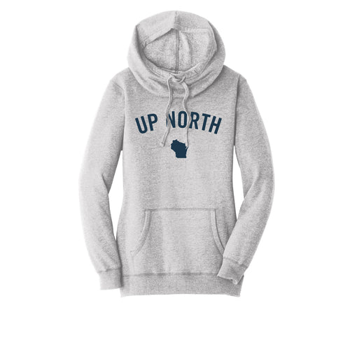 Women's Light Grey Up North WI Felt Hoodie